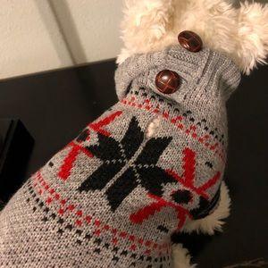 XS Dog Sweater bnwot Gray fair isle Coleman